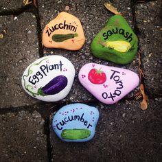 Homemade garden rocks.