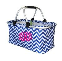 Navy Chevron Monogrammed Market Tote by Mainsteet Collection