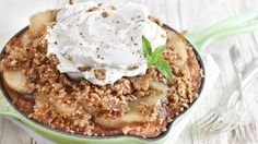 Apple Crisp Snickerdoodle Skillet Cookie -- Snickerdoodle cookies serve as the base for an apple crisp topping. Serve warm, topped with whipped cream and a side of vanilla ice cream, and then retreat to your happy place.