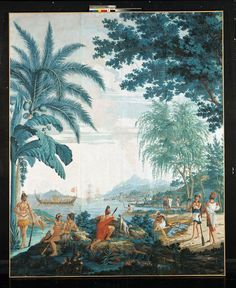 """""""Les sauvages de la Mer Pacifique"""": a set of the Captain Cook 'wallpaper' by DUFOUR, Joseph after Jean-Gabriel CHARVET - 1805 Cooking Icon, Fun Cooking, Cooking Tips, Outdoor Cooking, Cooking For Beginners, Cooking Videos, How To Cook Fish, How To Cook Pasta, Joseph"""