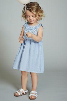 Kup Blue Ruffle Neck Smock Dress (3m-cy-6lata) from Next Poland
