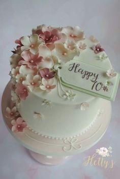 Mini cakes – Geburtstag – Famous Last Words 70th Birthday Cake For Women, Birthday Cake For Women Elegant, 90th Birthday Cakes, Elegant Birthday Cakes, Birthday Cake With Flowers, Birthday Cake For Mother, Birthday Cake Ideas For Adults Women, Grandma Birthday Cakes, 70 Birthday
