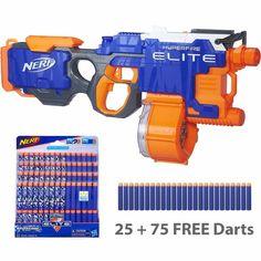 dart blaster gun nerf n strike elite hyperfire 25 75 free darts 5 per second