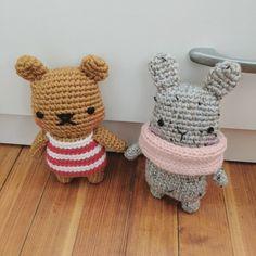 Free Crochet Pattern: chubby striped bear amigurumi (and bunny!) - HELLOhappy