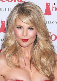 I like her layers and side bangs close up Christie Brinkley long hair style