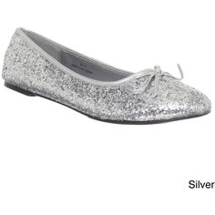 Funtasma Women's 'Star-16G' Glitter Ballerina Flats (56 AUD) ❤ liked on Polyvore featuring shoes, flats, silver, bow flats, ballerina flats, sparkly flats, sparkle shoes and ballerina flat shoes