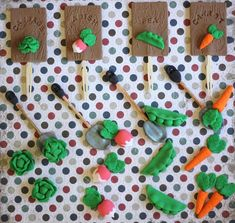 Deluxe Party Package Whimsical Vegetable Garden-Themed Cake and Cupcake Topper Set
