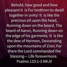 Psalm 133, Psalms, Blessed Sunday Morning, Unity, Amen, Bible Verses, Christ, Inspirational, God