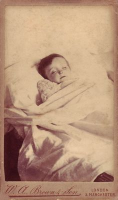 Little boy with his teddy bear. Another English post mortem portrait that seeks to soften the reality of death.    The photographer is W. A. Brown and Son, with two studios in London and one in Manchester.