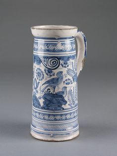 Tankard      Place of origin:      London, England (probably, made)     Date:      1632 (dated)     Artist/Maker:      Unknown (production)     Materials and Techniques:      Tin-glazed earthenware, painted in cobalt blue     Museum number:      C.21-1949