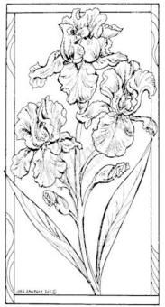 Northwoods Rubber Stamp Iris in Rectangle Frame,$10.50