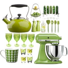Lime Green Kitchen Accessories- Cooking With Green! - Home Design and Home Interior Lime Green Kitchen, Green Kitchen Decor, Kitchen Colors, Olive Kitchen, Green Kitchen Accessories, Home Decor Accessories, Kitchen Paint, New Kitchen, Kitchen Ideas