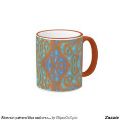 Abstract pattern blue and orange ringer coffee mug #abstract #pattern #blueandorange #turquoise #coffeetime