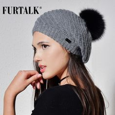 FURTALK Angola rabbit fur beret hats for women warm winter women fur pom pom hat knit beanie for girls  #FURTALK #berets #women_berets #stylish_berets #style #fashion
