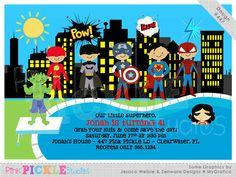 Superhero Pool Party Personalized Party Invitation-personalized invitation, photo card, photo invitation, digital, party invitation, birthday, shower, announcement, printable, print, diy, hulk, spiderman, wonder woman, batman, flash, super hero
