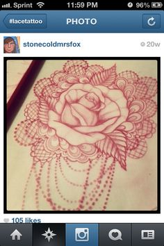 Rose lace pearls tattoo