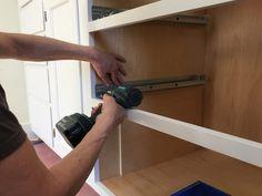 Blum Tandem slides being installed with homemade jig