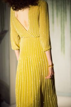 Jenny Packham. yellow. sequin open back dress. spring summer 2014 collection. New York Fashion Week.