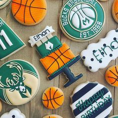 A set of Milwaukee Bucks/basketball themed cookies to celebrate my son's 11th Birthday!  #basketballcookies #birthdaycookies #customcookies #decoratedcookies #royalicing #cookiesofinstagram #petitetreatsbykelly