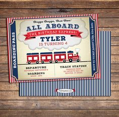 Train Birthday Invitation   Printable   Boys Party Invite   Blue Red   See our Shop for Matching Train Themed Party Decorations