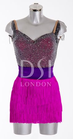 Sapphire and Hawaiian Pink Latin Dress as worn by Frankie Bridge on Strictly Come Dancing 2014. Designed by Vicky Gill and produced by DSI London