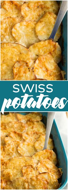 Swiss Potatoes - Layers of sliced potatoes and Swiss cheese make this easy side dish a winner! (Cheese Making Easy) Potato Dishes, Potato Recipes, Vegetable Recipes, Food Dishes, Veggie Dishes, Side Dishes Easy, Side Dish Recipes, Snack Recipes, Cooking Recipes