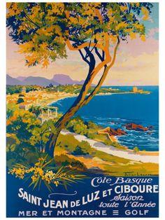Saint Jean de Luz France, Atlantique,  Vintage travel beach poster by Julien Lacaze #essenzadiriviera www.varaldocosmetica.it