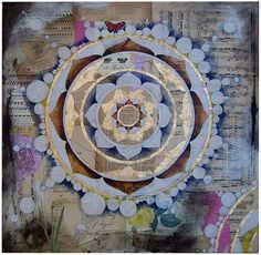 """Vintage paper & sheet music, wrapping paper, paint, ink and gold leaf on canvas. 24"""" x 24""""."""