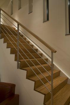Indoor Stair Railing, Wire Balustrade, Finished Basement Designs, Garage Stairs, Master Bathroom Shower, Home Upgrades, Stairways, Home Goods, House Design