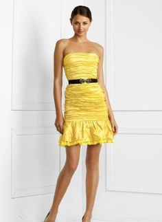 yellow strapless dress