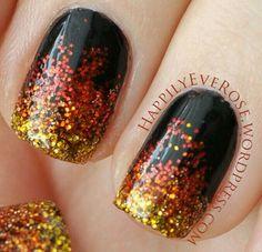 Black with orange & yellow glitter! Halloween themed nails!