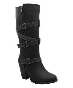 Another great find on #zulily! Black Wrap-Buckle Tamara Boot by Yoki #zulilyfinds