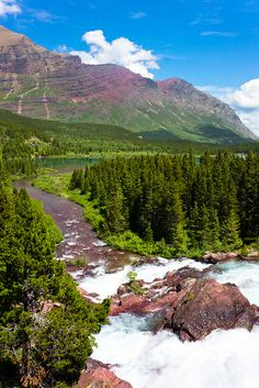 Redrock Lake and Falls Glacier National Park