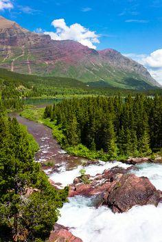 Redrock Lake and Falls  Glacier National Park