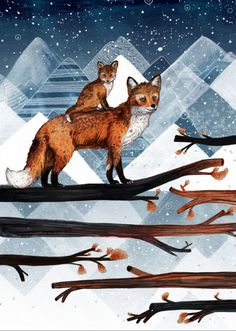 Fox Wood // A3 Print by SandraDieckmann on Etsy