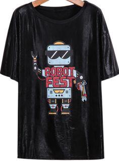 Black Short Sleeve Robot Print Loose T-Shirt pictures