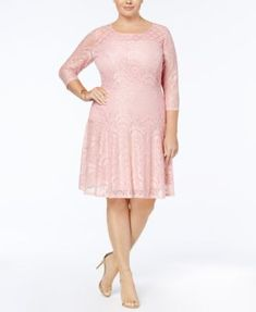 NY Collection Plus Size Lace Fit & Flare Dress | macys.com