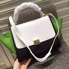 New Arrival Spring 2016 Celine Bags Outlet-Celine Nano Trapeze Bag in Multicolour Bullhide and Grained Nubuck C0422-WBG