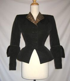 1940   Black Corded Silk Fit and Flare Jacket with Patterned Metallic Silk Fabric Accents at the Collar and Cuffs by Lilli Ann
