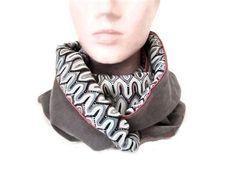 9a9334292305 snood femme gris clair velours vagues , écharpe infinie en tissu reversible  , tour de cou