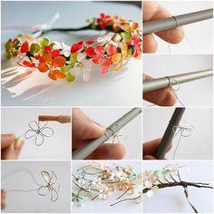 Πώς να φτιάξετε λουλούδια και στεφανάκια απο σύρμα και μανό.