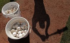 Balls in buckets at Seattle Mariners' spring training