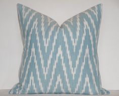 Schumacher -  Kasari IKAT In Turquoise - Fits 18 x 18 - Decorative Pillow Cover - Blue - White - Throw Pillow - Accent Pillow. $52.00, via Etsy.