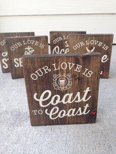 Our Love Is Coast To Coast Coast Guard Wood Block by polkadotwall