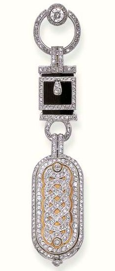 A DELICATE DIAMOND LAPEL WATCH, BY CARTIER  The case decorated with a central motif of entwined rose-cut diamond lines within twin borders, the reverse with an oval-shaped silvered dial and Roman numerals, suspended by rose-cut diamond stylised buckle links with black satin ribbon backing, circa 1920