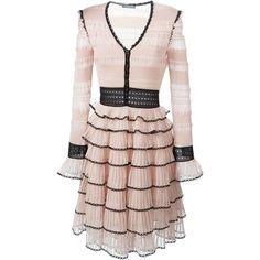Alexander McQueen Victorian Lace Tiered Dress ($2,815) ❤ liked on Polyvore featuring dresses, victorian dress, long sleeve a line dress, pink v neck dress, pink lace dress and alexander mcqueen dresses
