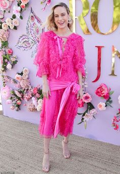 Captain Marvel star Brie Larson steals the spotlight in a hot pink lace gown at the Rodarte runway show in L. Hot Pink Dresses, Lilac Dress, Nice Dresses, Bad Fashion, Brie Larson, How To Look Pretty, Celebs, Glamour, Gowns