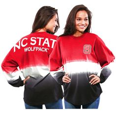 NC State Wolfpack Women's Ombre Long Sleeve Dip-Dyed Spirit Jersey - Red - $51.99