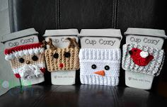 [Free Patterns] 4 Impossibly Cute Christmas Cozy Patterns – Knit And Crochet Daily - crochet mug cozy Crochet Tree, Crochet Coffee Cozy, Crochet Cozy, Crochet Gratis, Cute Crochet, Coffee Cozy Pattern, Coffee Cup Cozy, Crochet Slippers, Crotchet