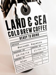 "Tie on label with space for ""brewed by"", ""brewed on"", etc."